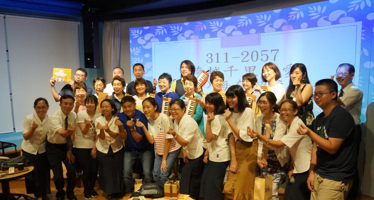 日本宮川先生慈濟圓夢,311大地震期間受到慈大附中同學祝福感動,偕同樂團回來校園參訪。